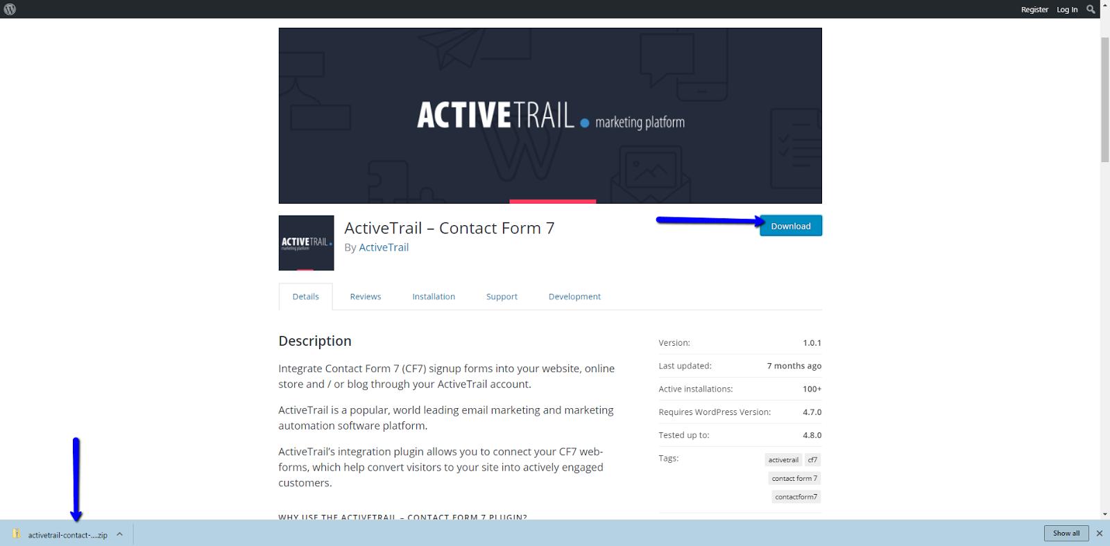 ActiveTrail Contact form 7 integration