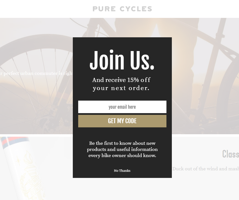 Pure Cycles Popup