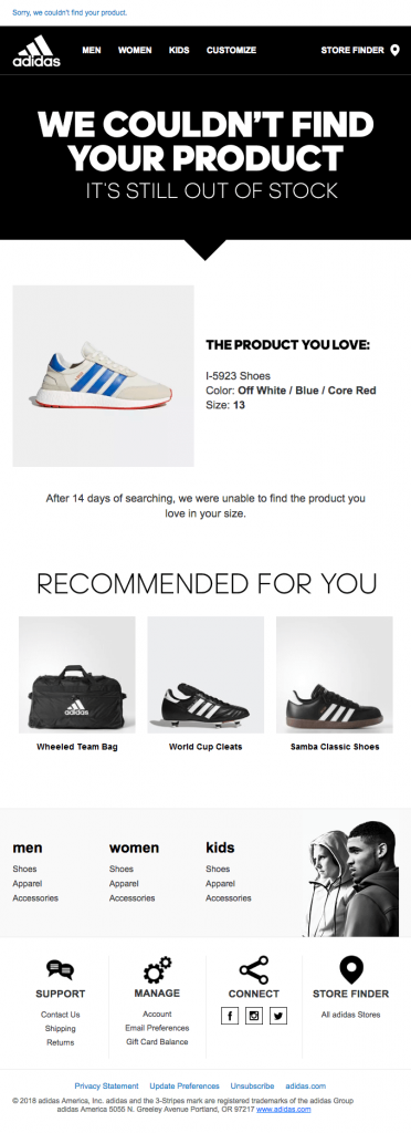 order confirmation email example more products