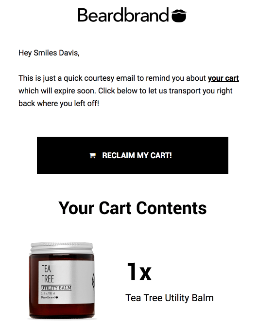 abandoned cart email example email