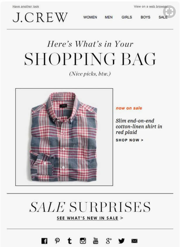 activetrail abandoned cart email example email jcrew