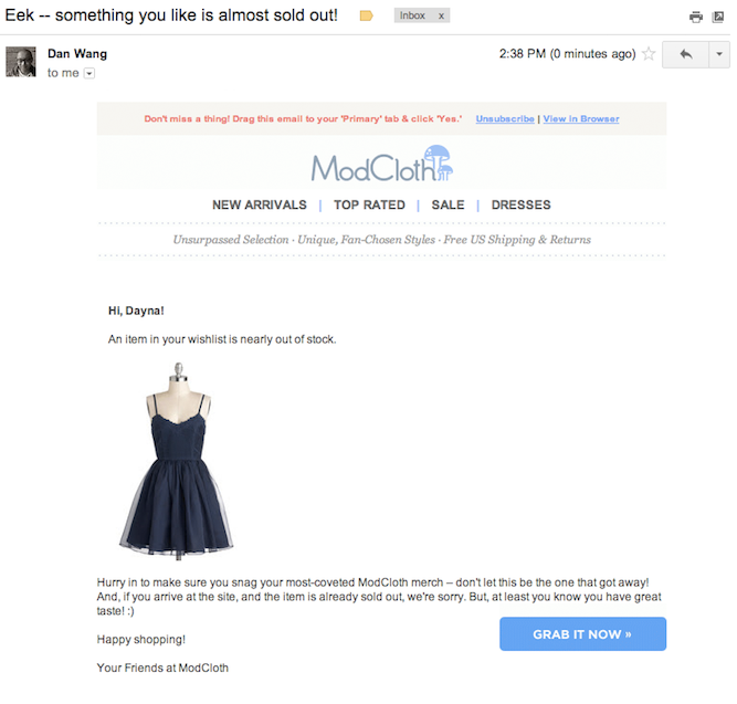 activetrail abandoned cart email example email modcloth