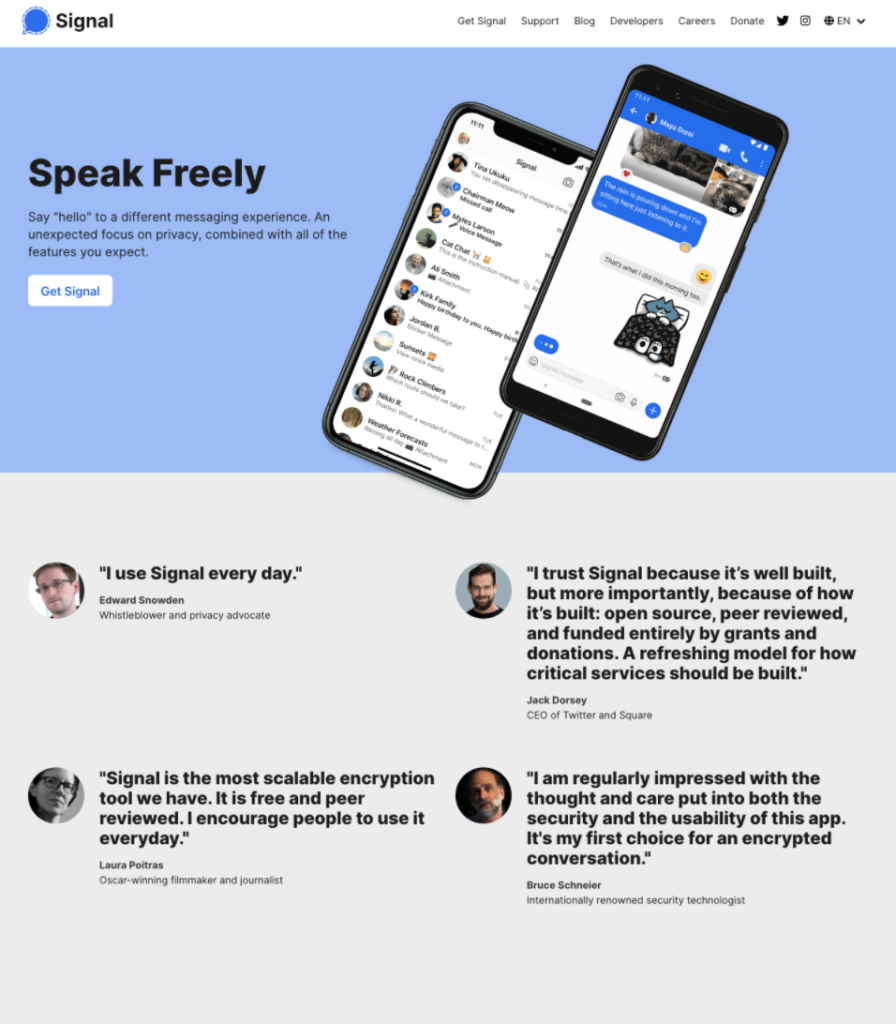 Social proof on Signal's landing page